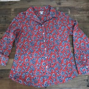 J. Crew red and blue floral printed shirt, size L